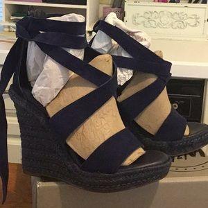Dark Blue Suede Wedge-heel Sandals